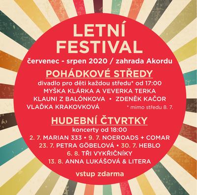 Celoprázdninový Letní festival v Akordu nabídne pohádky i koncerty