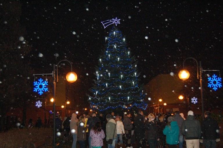 V obvodu už svítí vánoční strom