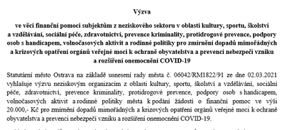 Ostrava pokračuje s finanční pomocí neziskovým organizacím