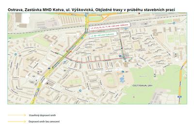 """Rekonstrukce """"OSTRAVA, ZASTÁVKA MHD KOTVA, ULICE VÝŠKOVICKÁ"""" si vyžádá dopravní omezení i posun zastávek"""