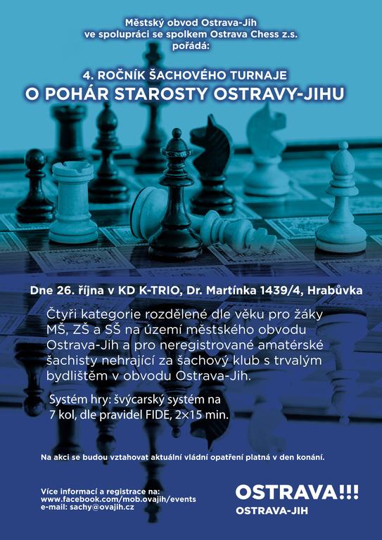 zveme vás na Šachový turnaj O pohár starosty Ostravy-Jihu