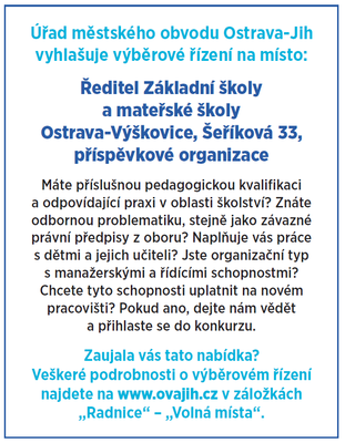 Výběrové řízení na ředitele školy Šeříková ve Výškovicích