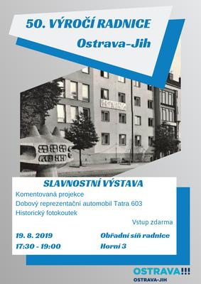 Radnice Ostravy-Jihu slaví 50 let. Připravena je výstava s komentovanou projekcí, historický fotokoutek i Tatra 603